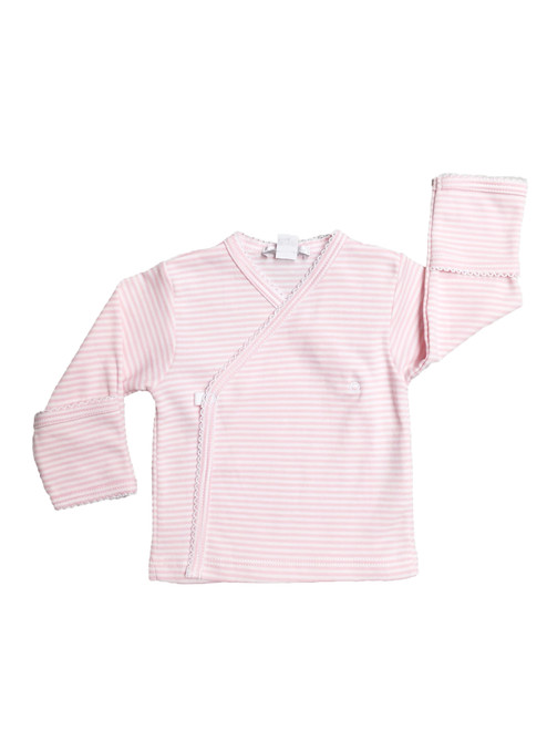 Kissy Kissy 100% Peruvian Pima Cotton Pink Stripes L/S Cross Tee