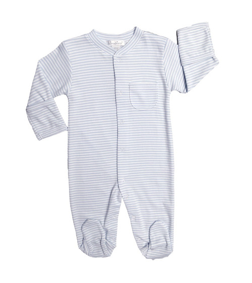 Kissy Kissy 100% Pima Cotton Light Blue Stripes Footie