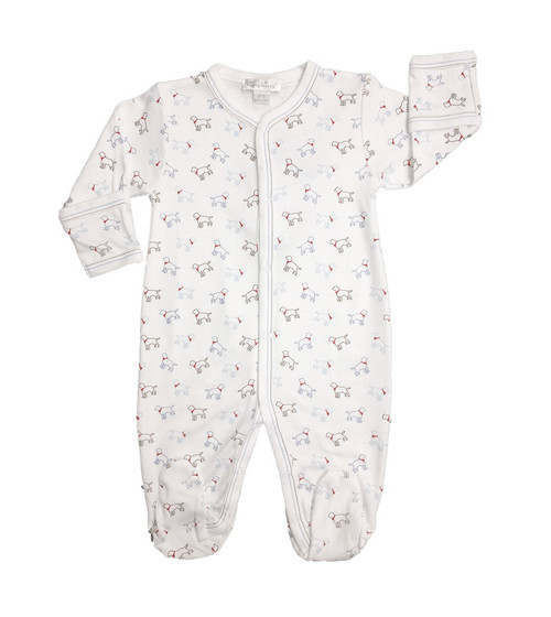 Kissy Kissy 100% Peruvian Pima Cotton Light Blue Puppy Love Print Footie