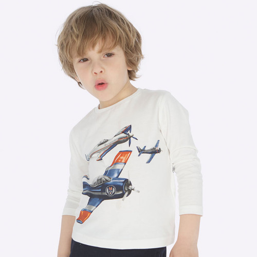 Mayoral Boys Airplane T-Shirt - Cream