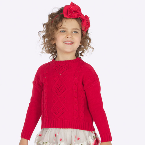 Mayoral Girls Sweater with Rhinestones - Red