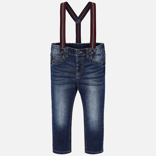 Mayoral Boys Dark Denim Long Trousers with Suspenders