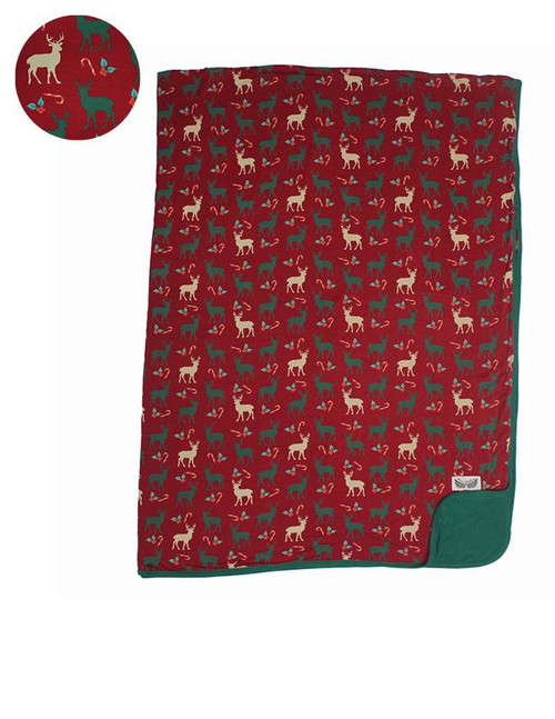Holiday Reindeer Double-Layered Throw Blanket