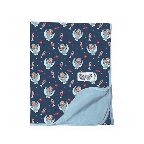 Midnight Blue Astro Sloth Stroller Blanket