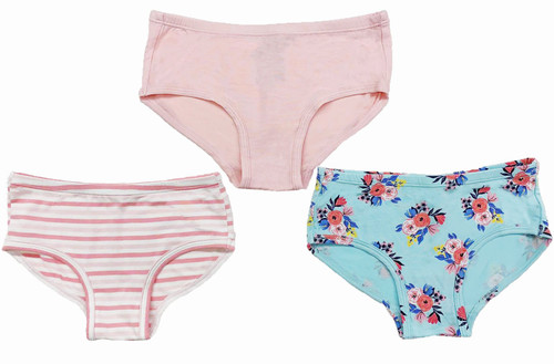Azure Floral Girls Underwear Set of 3