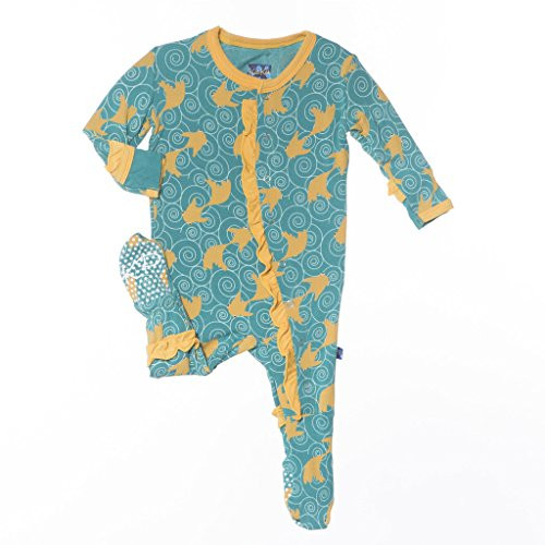 Kickee Pants Ruffle Footie - Lagoon Fish