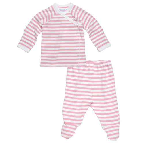 Under the Nile Organic Egyptian Cotton L/S Side Snap Tee & Footed Pant Set- Blush/Off White