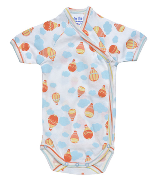 Under the Nile Organic Egyptian Cotton S/S Side Snap Babybody- Balloon Print/Stripe