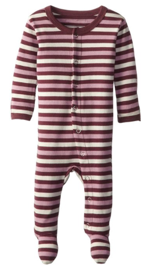L'OVEDBABY 100% Organic Cotton Gl'oved-Sleeve Overall, Eggplant Stripe