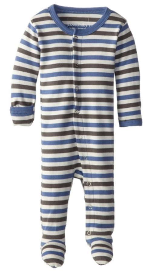 L'OVEDBABY 100% Organic Cotton Gl'oved-Sleeve Overall, Slate Stripe