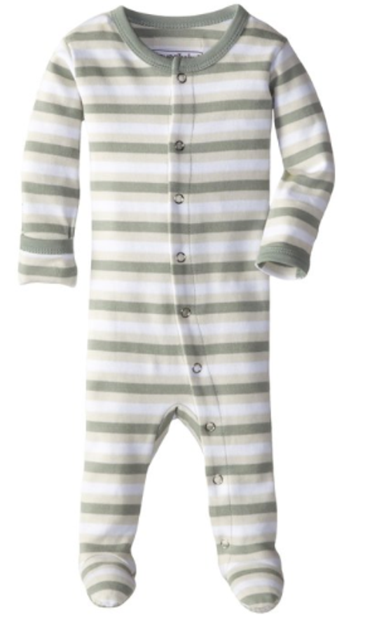 L'OVEDBABY 100% Organic Cotton Gl'oved-Sleeve Overall, Seafoam Stripe