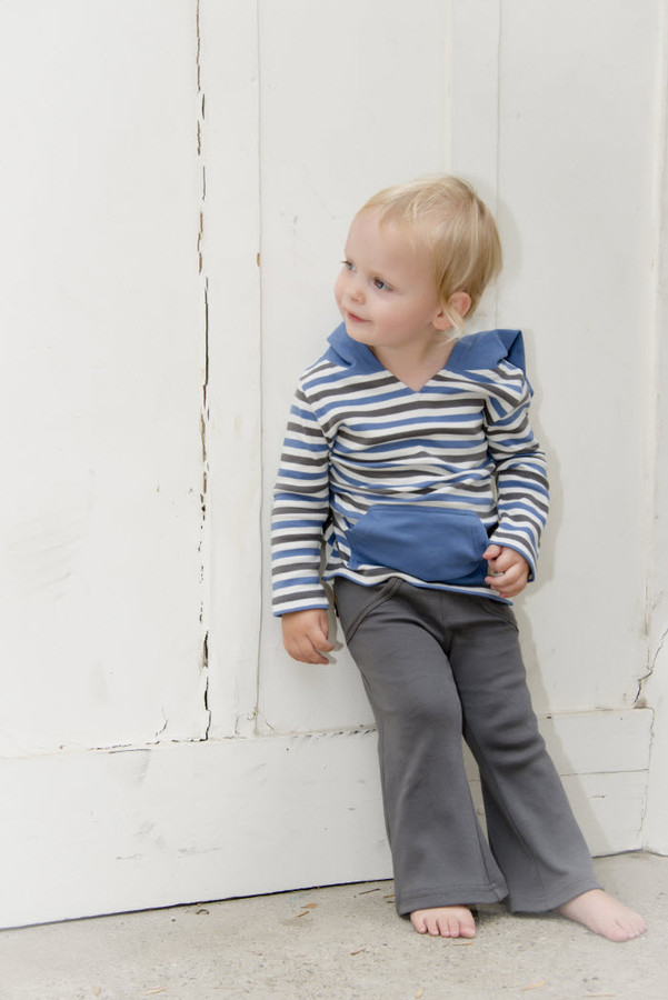L'OVEDBABY 100% Organic Cotton Long-Sleeve Hooded Shirt, Slate Stipe paired with L'OVEDBABY Leggings