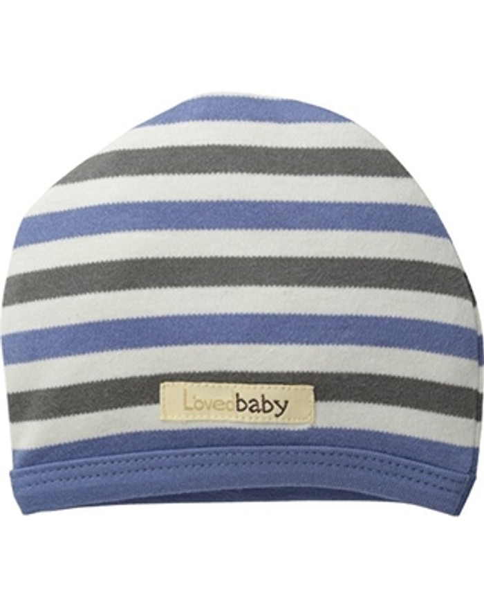 L'OVEDBABY 100% Organic Cotton Cute Cap, Slate Stripe