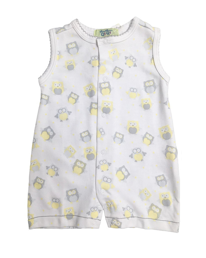 Kissy Kissy 100% Peruvian Pima Cotton QT Yellow Owls Sleeveless Short Playsuit