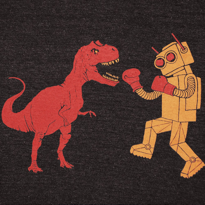 Dino vs Robot Tee - Kids - Tri Black
