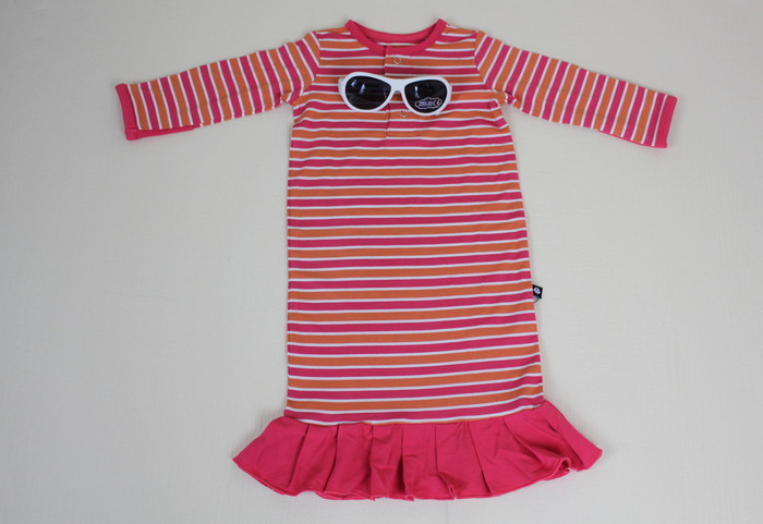 Sweet Bamboo Ruffle Gown, Coral/Orange Stripe