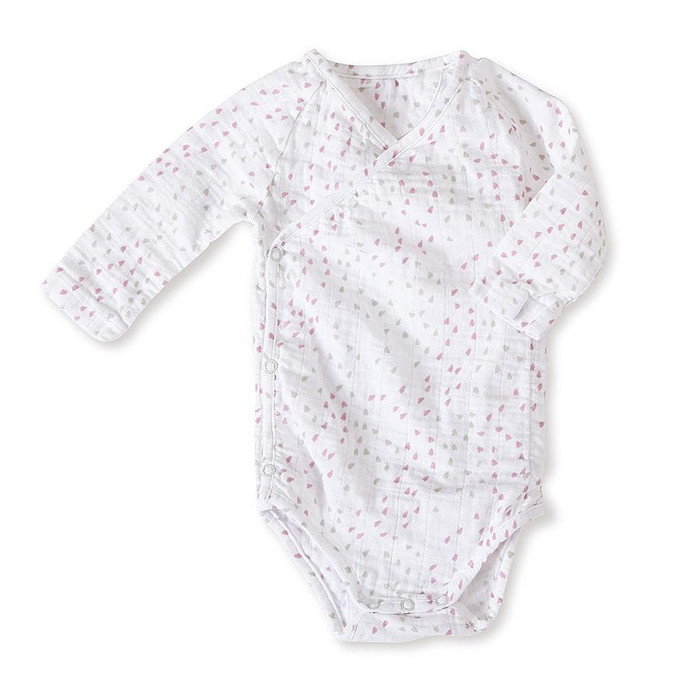 Aden+anais long sleeve kimono bodysuit, lovely mini hearts
