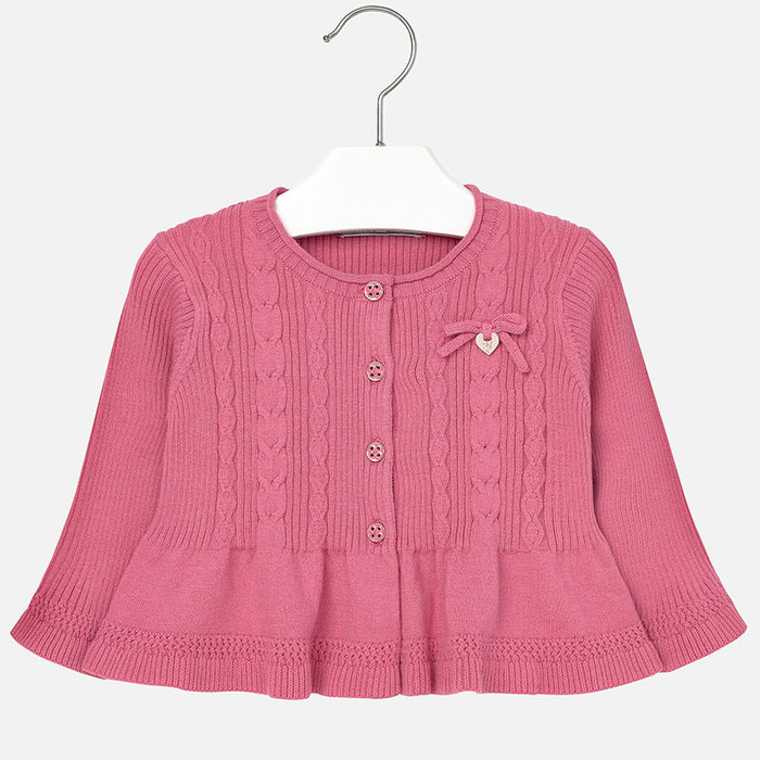 Mayoral Baby Girls Knitted Peplum Cardigan, Strawberry