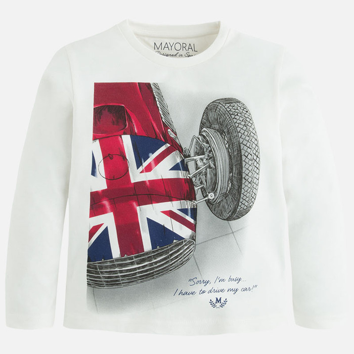 Mayoral Boys Brit Car Shirt, Natural