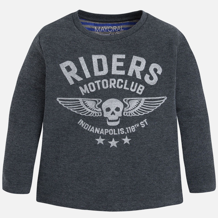 Mayoral Boys Long Sleeve Rider Tee, Graphite