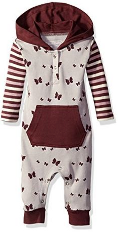 L'OVEDBABY 100% Organic Cotton Hooded Long-Sleeve Romper, Eggplant Butterflies