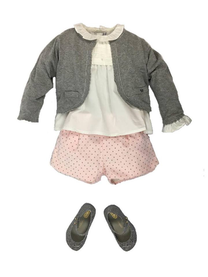 Mayoral Baby Girls Polka Short Set, Rose