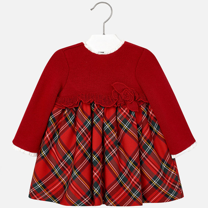 Mayoral Baby Girls Tartan Mix Dress, Red