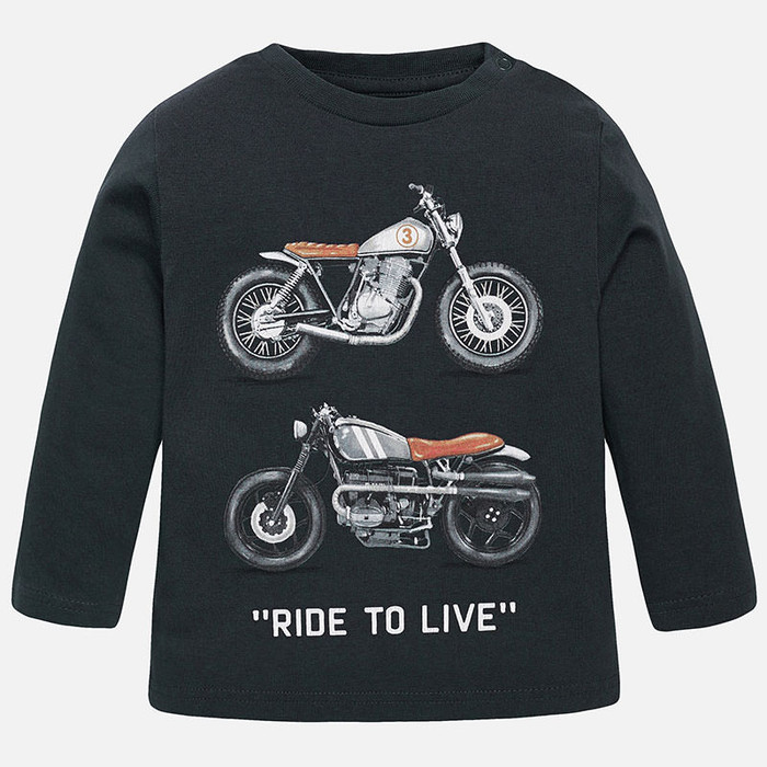 Mayoral Baby Boys Motorbikes Shirt, Graphite