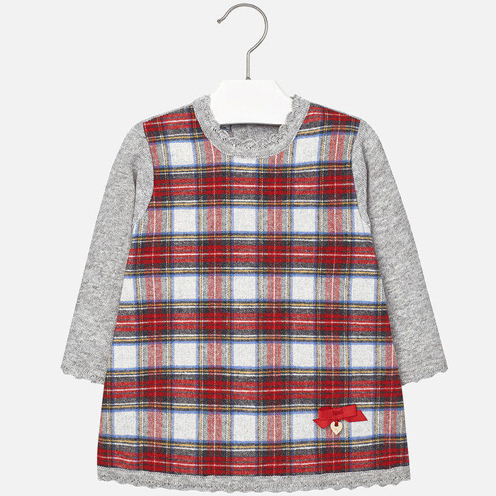 Mayoral Baby Girls Tartan Knitted Dress, Red