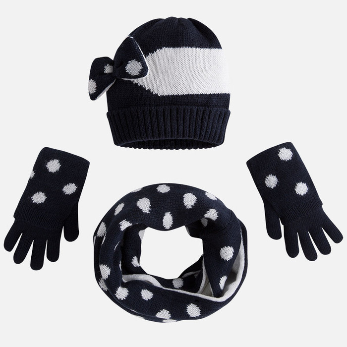Mayoral Girls Spotted Beanie, Scarf, and Gloves Set, Navy