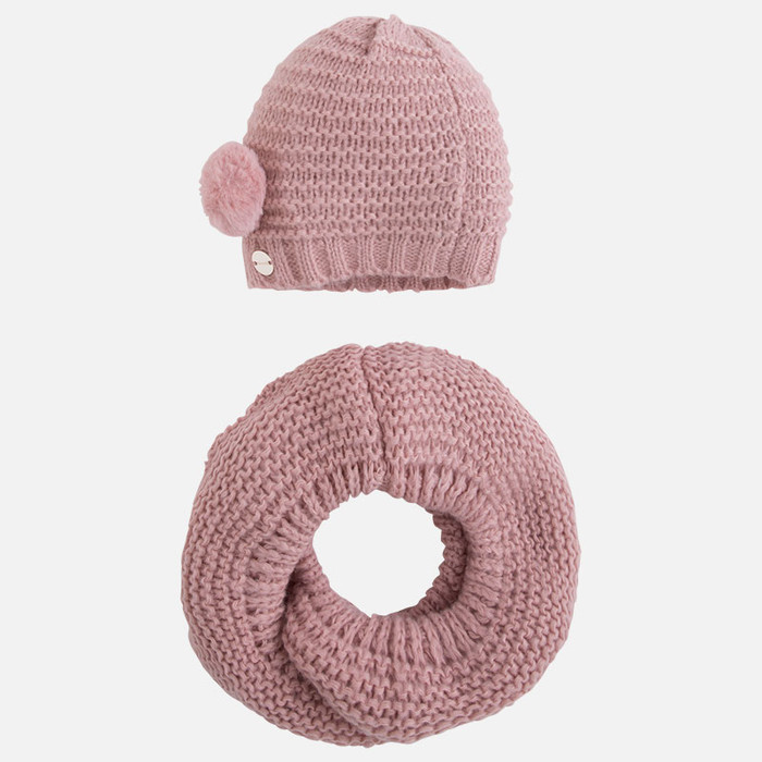 Mayoral Girls Beanie and Scarf Set, Pink