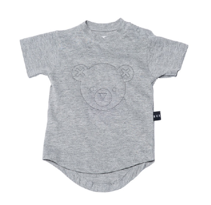 Huxbaby Organic Cotton Stitched Drop Back T-Shirt, Grey Marle
