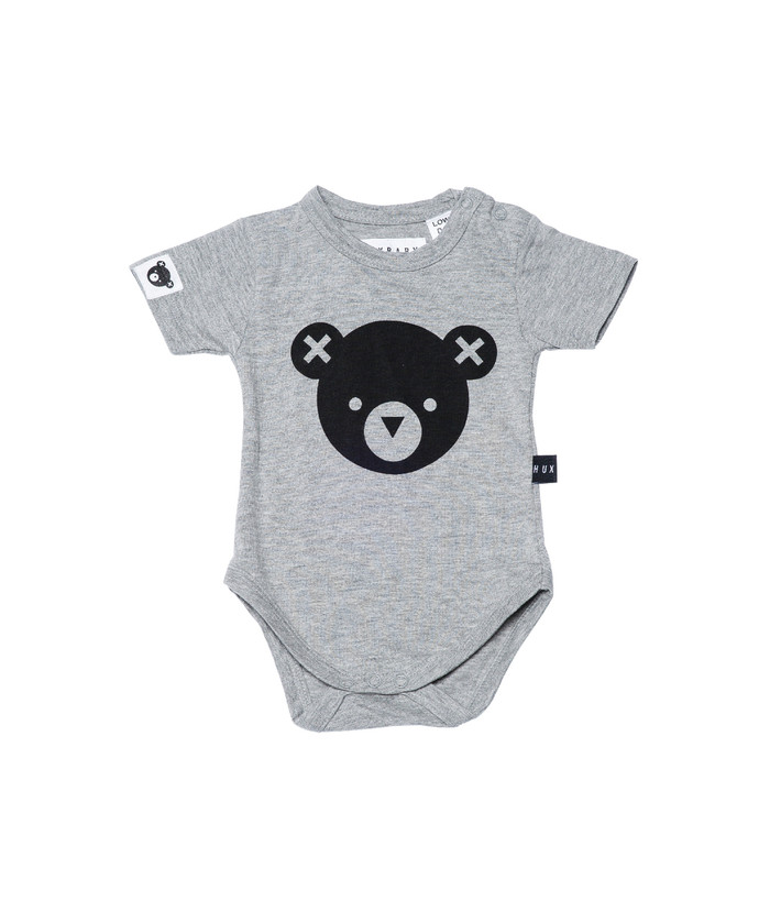 Huxbaby Organic Cotton Bear Essentials Onesie, Grey Marle