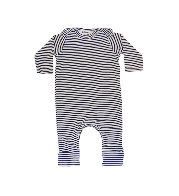 Go Gently Printed Romper, Navy/Natural Stripe