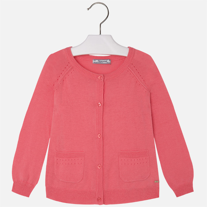 Mayoral Girls Jersey Cardigan, Geranium