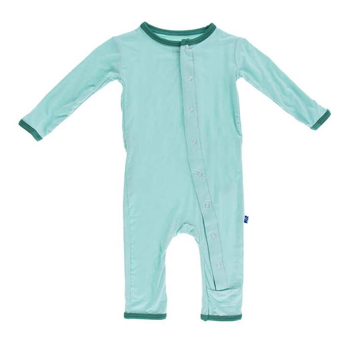 Kickee Pants Solid Fitted Coverall, Glass with Shady Glade