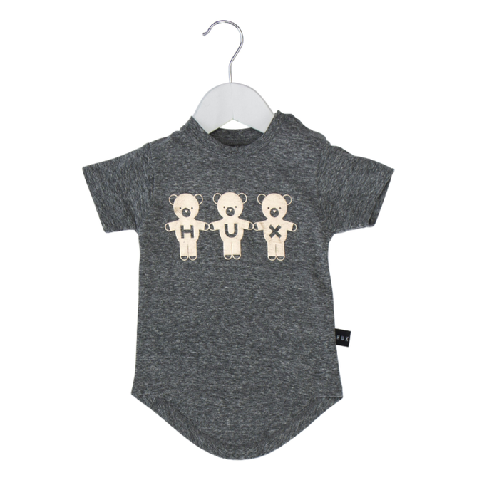 Huxbaby Organic Cotton Team Hux Drop Back T-Shirt, Grey Marle