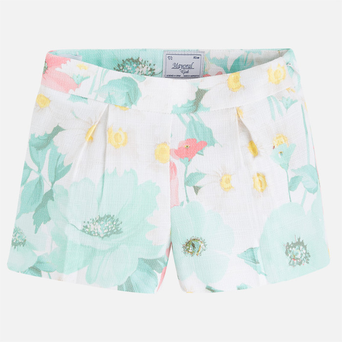 Mayoral Girl floral print shorts, Lake