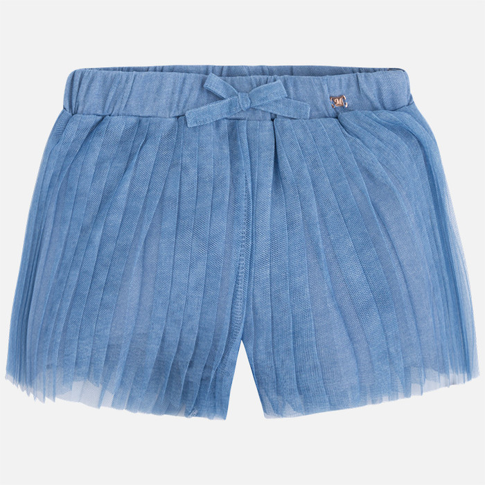 Mayoral Girl tulle shorts with bow, Denim
