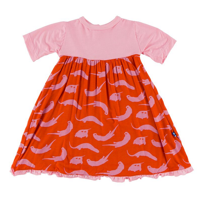 Kickee Pants Short Sleeve Swing Dress with Keyhole & Button Closure, Poppy River Otter