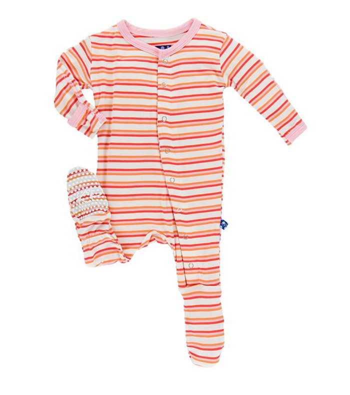 Kickee Pants Print Footie, Girl Fresh Water Stripe