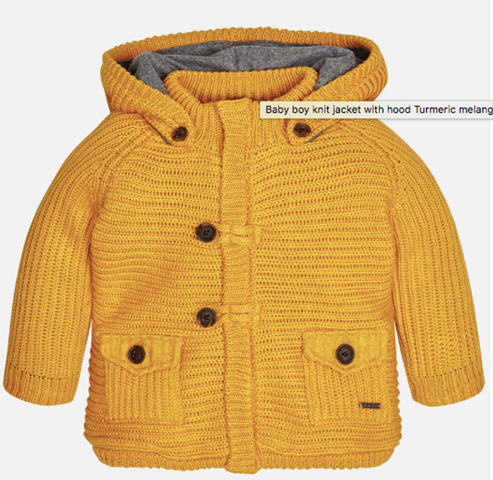Mayoral Baby Boys Knit Hoodie Pullover - Turmeric