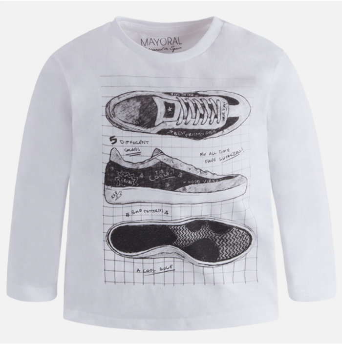 Mayoral Boy long sleeved silkscreened t-shirt, White