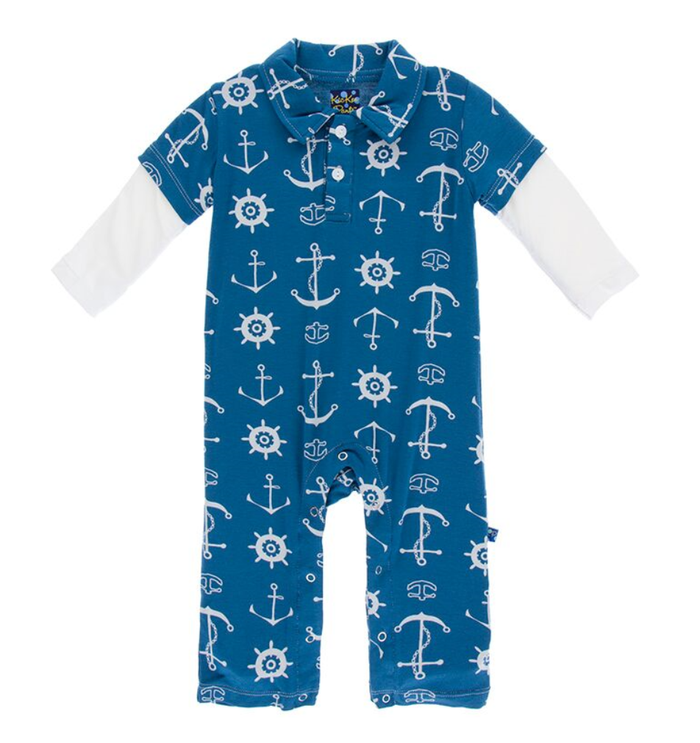 Kickee Pants Print Double Layer Polo Romper - Twilight Anchor