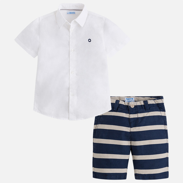 Mayoral Boys Linen Shorts and Shirt Set - Blue