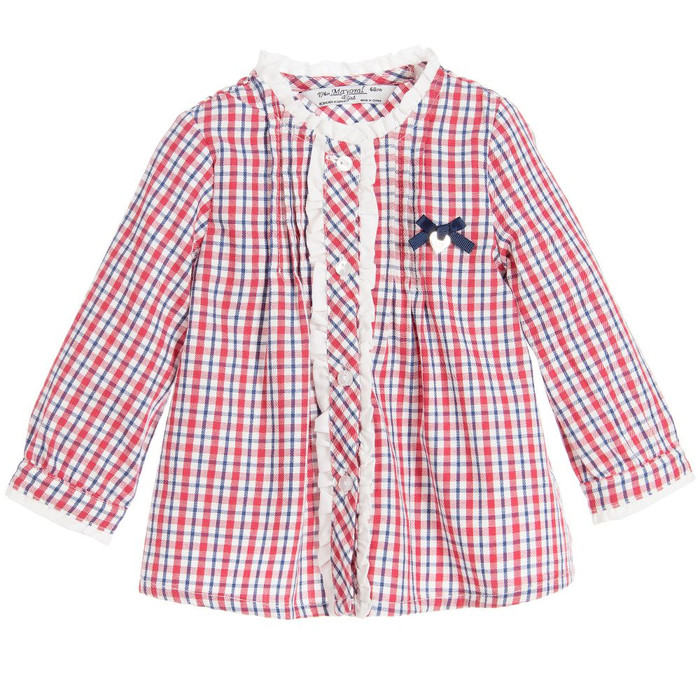 Mayoral Baby Girls Check Blouse - Red