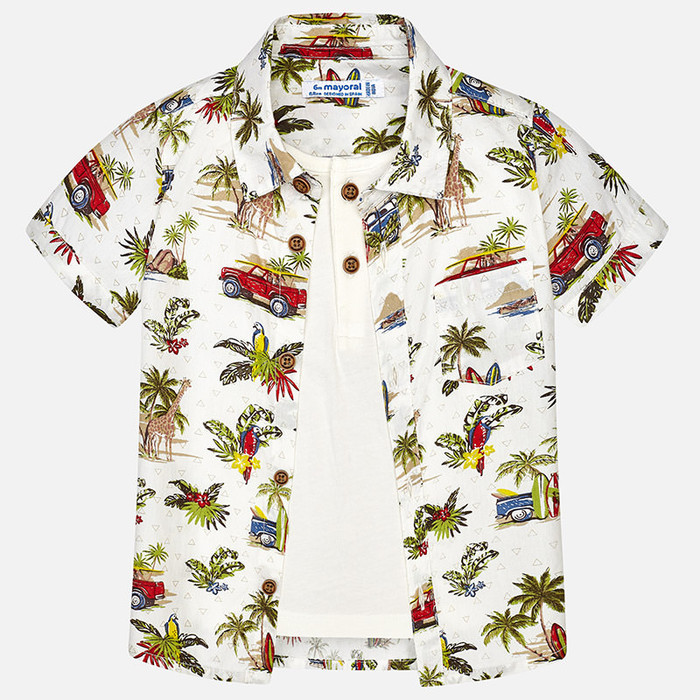 Mayoral Baby Boy Two-in-One Shirt with T-Shirt - Jungle