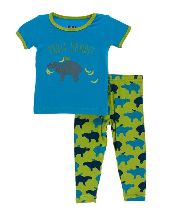 Kickee Pants Print Short Sleeve Pajama Set with Pants - Meadow Capybara