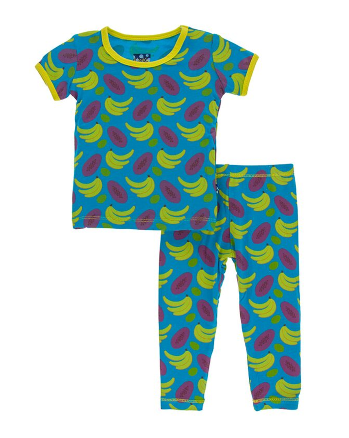 Kickee Pants Print Short Sleeve Pajama Set with Pants - Tropical Fruit