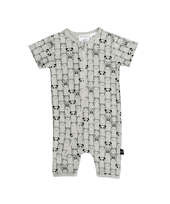 Huxbaby Animals Short Zip Romper